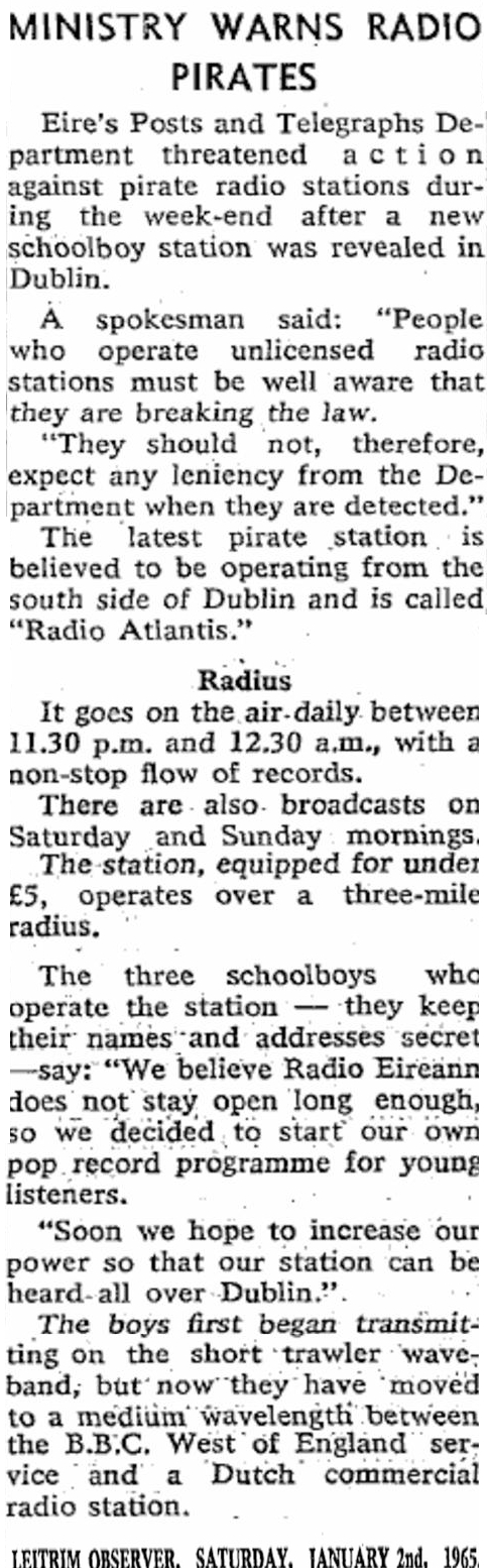 Ministry Warns Radio Pirates is a headline on page 2 of The Leitrim Observer