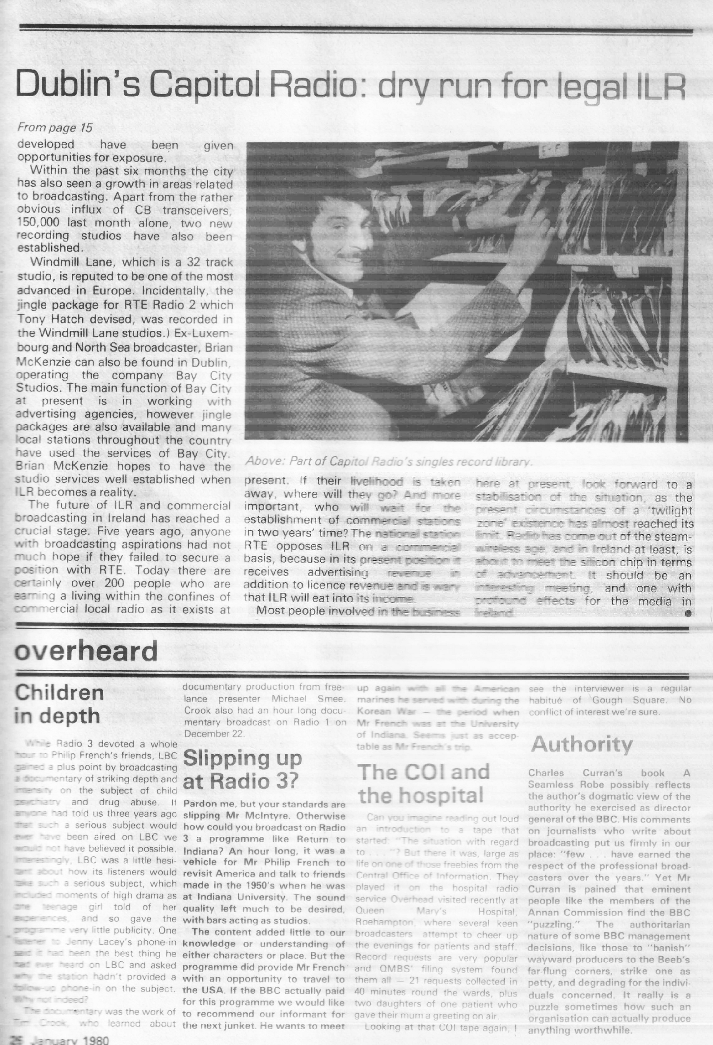 Capitol Radio feature in Radio World January 1980